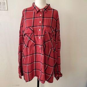XXL pink plaid boyfriend shirt Old navy 💕2/$30💕